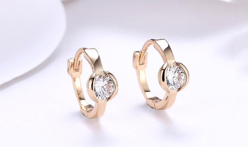 Classic Circular Crystal Huggies Set in 18K Gold, Earring, Golden NYC Jewelry, Golden NYC Jewelry fashion jewelry, cheap jewelry, jewelry for mom,