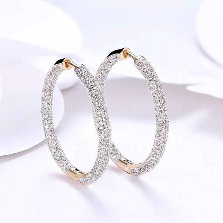 Austrian Elements Micro Pave' Hoop Earrings in 18K Gold Plated, Earring, Golden NYC Jewelry, Golden NYC Jewelry  jewelryjewelry deals, swarovski crystal jewelry, groupon jewelry,, jewelry for mom,