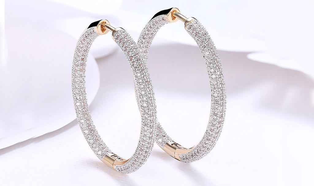 14K Gold Plating London Inspired Swarovski Elements Pav'e Circular Hoop Earrings- Two Options