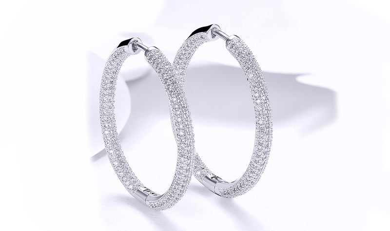 Diamonique Pave' Hoop Earrings in 18K Gold Plated