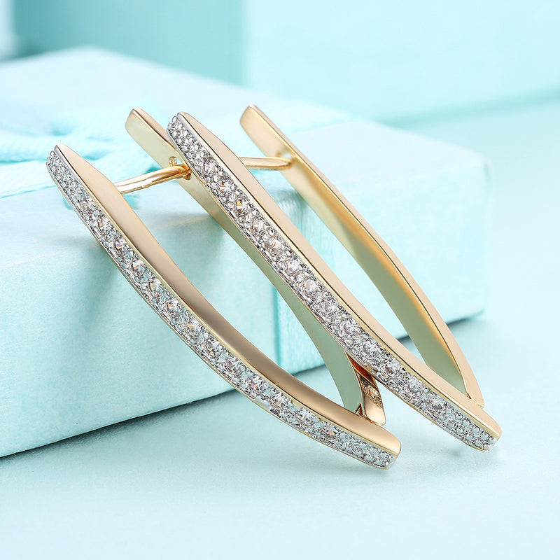 White Swarovski Elements Thin Earrings In 14K Gold