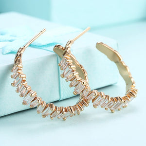 Austrian Crystal Abstract Crystal Dust Earrings Set in 18K Gold - Golden NYC Jewelry