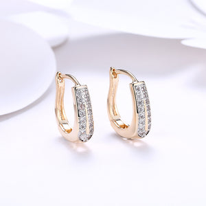Swarovski Elements Harp Shaped Earrings in 14K Gold
