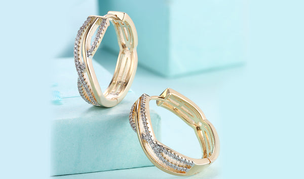 Swarovski Crystal Micro-Pav'e Curved Design Huggies Set in 18K Gold - Golden NYC Jewelry www.goldennycjewelry.com fashion jewelry for women