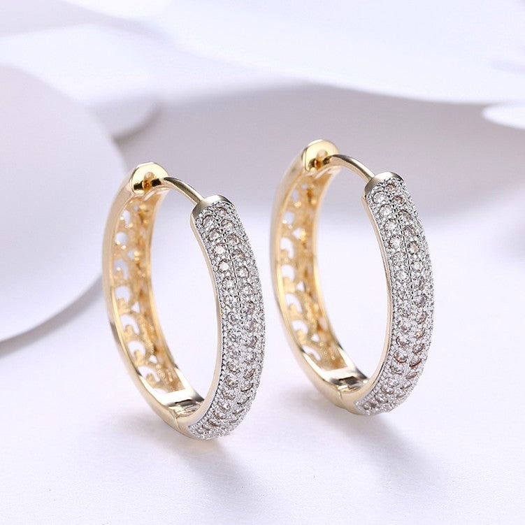 Swarovski Crystal Micro Pav'e Classic Circular Huggies Set in 18K Gold - Golden NYC Jewelry www.goldennycjewelry.com fashion jewelry for women
