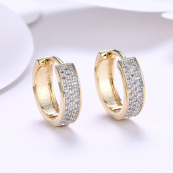 Swarovski Crystal Micro Pav'e Classic Huggies Set in 18K Gold - Golden NYC Jewelry www.goldennycjewelry.com fashion jewelry for women