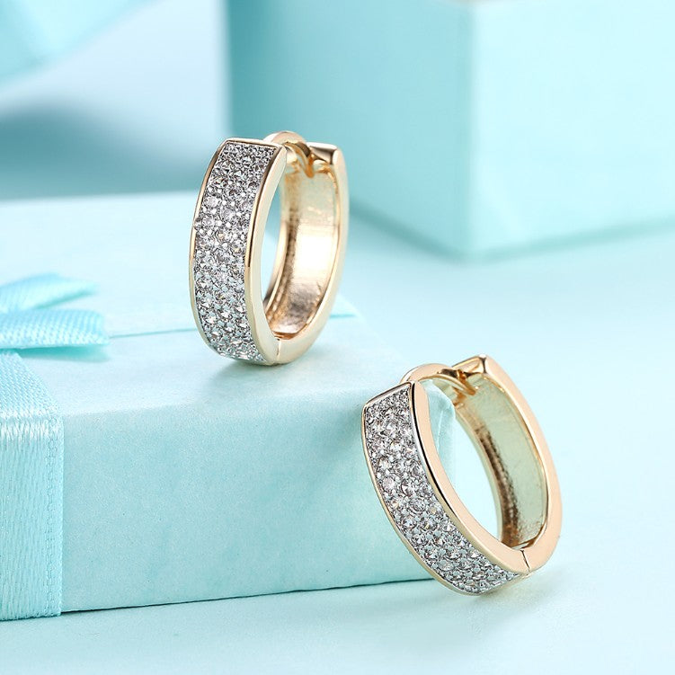 Austrian Crystal Micro Pav'e Classic Huggies Set in 18K Gold - Golden NYC Jewelry