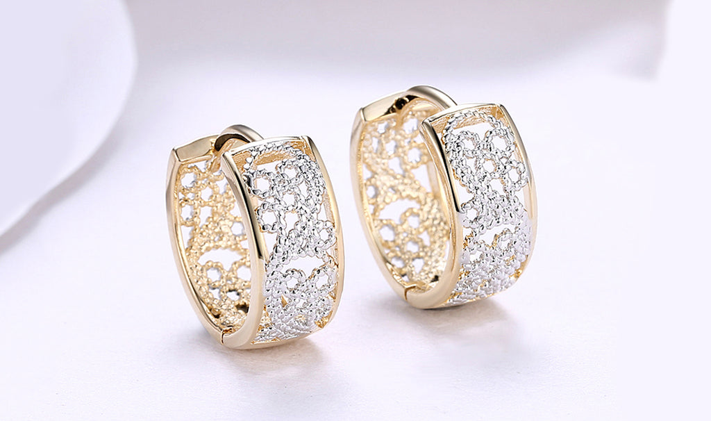 14K Gold Plating Multi-Toned Floral Filigree Wired Clip On Earrings