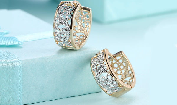 Metallic Layering Floral Filligree Huggies Set in 18K Gold, Earring, Golden NYC Jewelry, Golden NYC Jewelry fashion jewelry, cheap jewelry, jewelry for mom,
