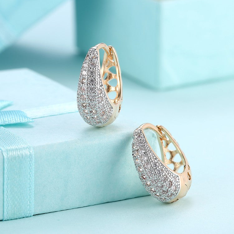 Swarovski Crystal Micro-Pav'e Pear Shaped Teardrop Huggies Set in 18K Gold - Golden NYC Jewelry www.goldennycjewelry.com fashion jewelry for women