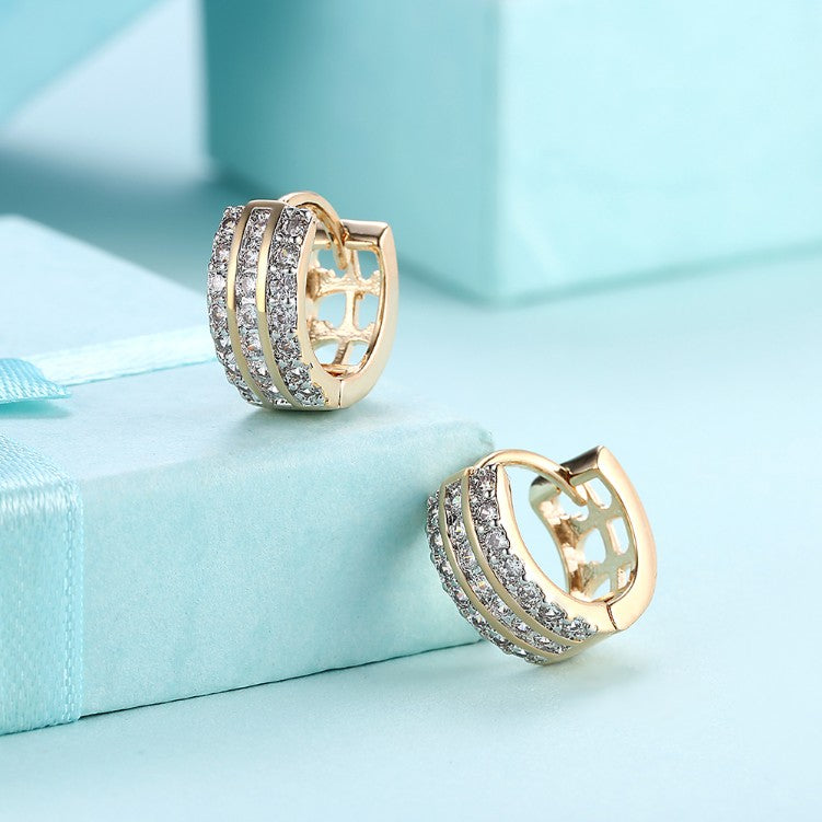 Swarovski Crystal Three Dangling Lined Huggies Set in 18K Gold - Golden NYC Jewelry www.goldennycjewelry.com fashion jewelry for women