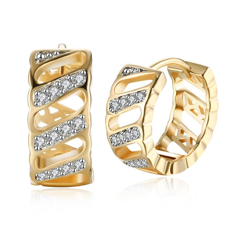 Swarovski Crystal Curved Hollow Huggies Set in 18K Gold - Golden NYC Jewelry www.goldennycjewelry.com fashion jewelry for women