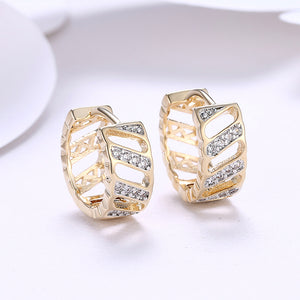 Swarovski Elements Criss-Cross Hoops in 14K Gold