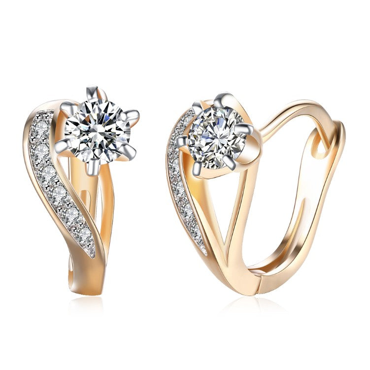 Swarovski Crystal Heart Shaped Pav'e Set in 18K Gold - Golden NYC Jewelry www.goldennycjewelry.com fashion jewelry for women