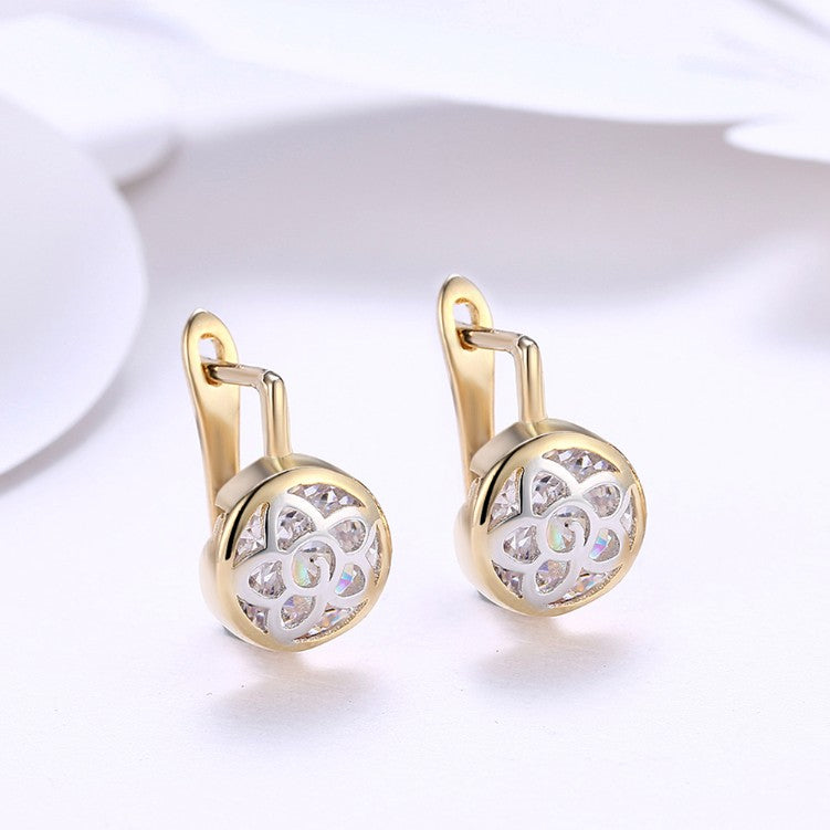Floral Inprint Circular Leverback Earrings Set in 18K Gold, Earring, Golden NYC Jewelry, Golden NYC Jewelry fashion jewelry, cheap jewelry, jewelry for mom,