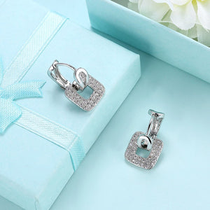 Micro-Pav'e Swarovski Crystal Square Shaped Earrings Set in 18K White Gold, Earring, Golden NYC Jewelry, Golden NYC Jewelry fashion jewelry, cheap jewelry, jewelry for mom,