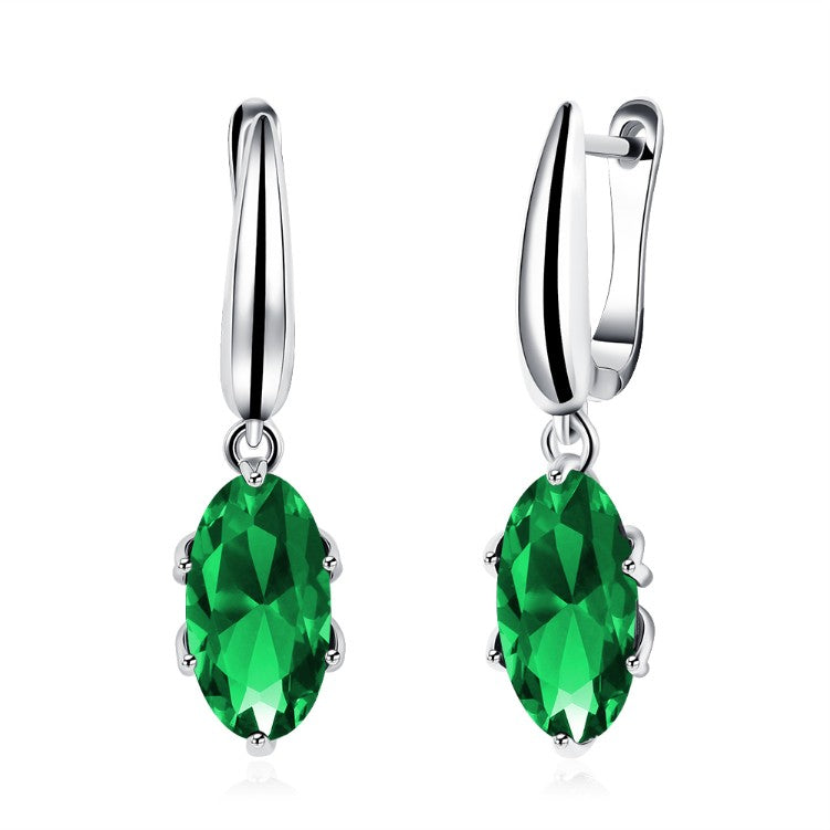 Simulated Emerald Sleek Leverback Earrings Set in 18K White Gold - Golden NYC Jewelry Pandora Jewelry goldennycjewelry.com wholesale jewelry