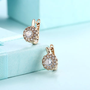 Austrian Crystal Micro Pav'e Bursting Star Leverback Earrings Set in 18K Gold - Golden NYC Jewelry