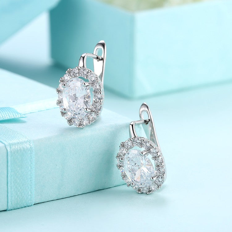 Swarovski Crystal Circular Leverback Earrings Set in 18K White Gold - Golden NYC Jewelry www.goldennycjewelry.com fashion jewelry for women