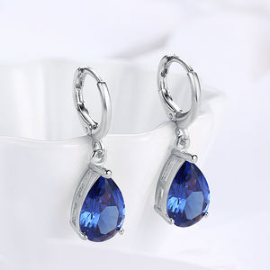 5.55 CTTW Sapphire Pear Shaped Drop Earrings Set in 18K White Gold, Earring, Golden NYC Jewelry, Golden NYC Jewelry  jewelryjewelry deals, swarovski crystal jewelry, groupon jewelry,, jewelry for mom,