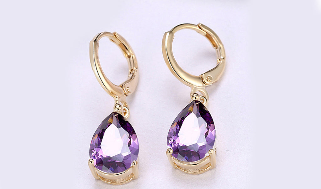 14K Gold Plating Sleek Swarovski Elements Pear Cut Drop Earrings - 3 Options Available