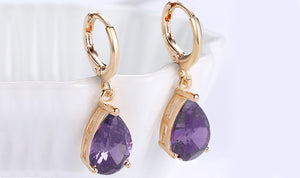 14K Gold Plating Sleek Elements Pear Cut Drop Earrings - 3 Options Available