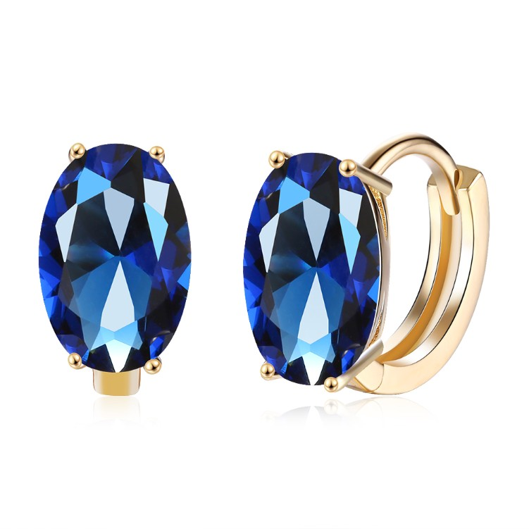 Simulated Sapphire Huggie Earrings Set in 18K Gold - Golden NYC Jewelry