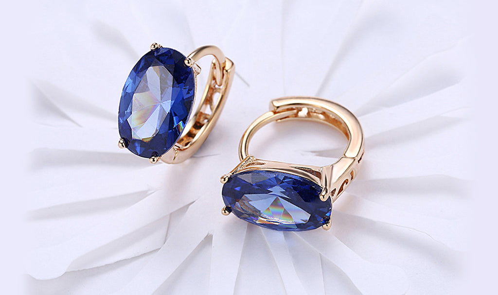 14K Gold Plating Large Diamond Cut Swarovski Elements Clip On Earrings- Two Options Available
