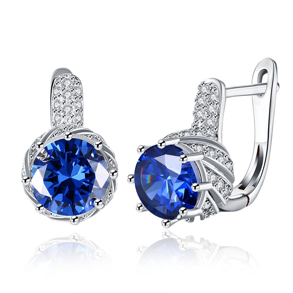 18K White Gold Plated Pav'e Curved Simulated Sapphire Lever-back Earrings