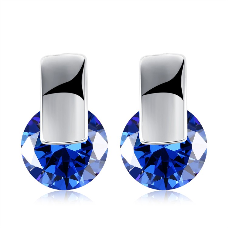 Simulated Sapphire Sleek Bar Earrings Set in 18K White Gold - Golden NYC Jewelry