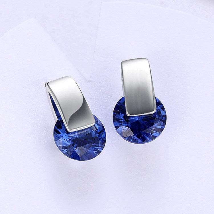 Simulated Sapphire Sleek Bar Earrings Set in 18K White Gold - Golden NYC Jewelry Pandora Jewelry goldennycjewelry.com wholesale jewelry