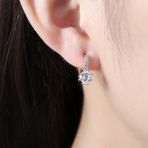 Simulated Star Shaped Micro Pav'e Leverback Earrings Set in 18K Gold - Golden NYC Jewelry