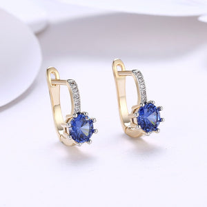 Simulated Sapphire Star Shaped Micro Pav'e Leverback Earrings Set in 18K Gold - Golden NYC Jewelry Pandora Jewelry goldennycjewelry.com wholesale jewelry