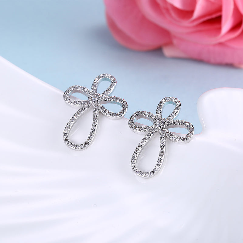 Austrian Crystal Curved Cross Earrings Set in 18K White Gold - Golden NYC Jewelry
