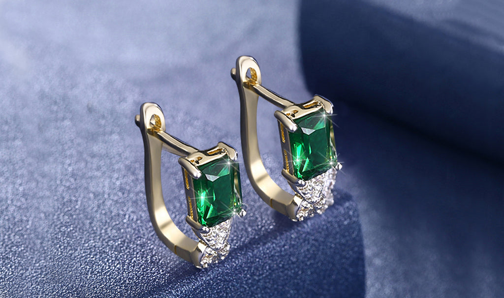 14K Gold Plating Emerald Cut Green Elements Twisted Pav'e Lever back Earrings