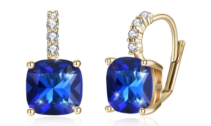 67dc546cf Asscher Cut Leverback Earrings Set in 18K Gold Plating Made with Swarovski  Crystal, , Golden