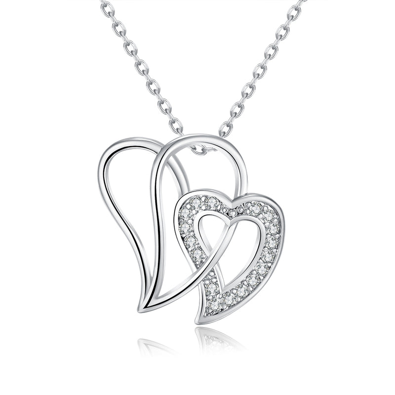 Duo Intertwined Hearts Swarovski Elements Necklace, Necklaces, Golden NYC Jewelry, Golden NYC Jewelry  jewelryjewelry deals, swarovski crystal jewelry, groupon jewelry,, jewelry for mom,