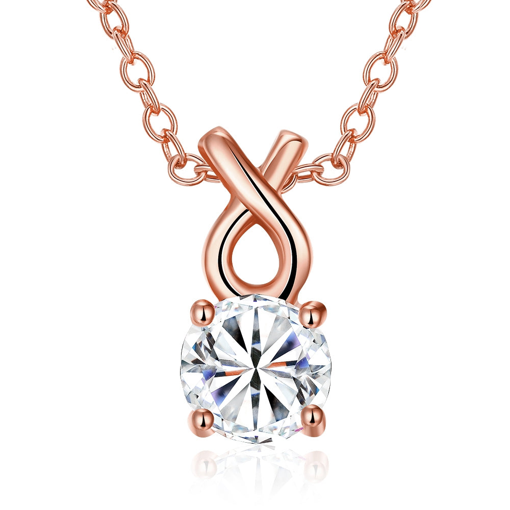 Single Solitaire Austrian Infinite Drop Necklace in 14K Rose Gold