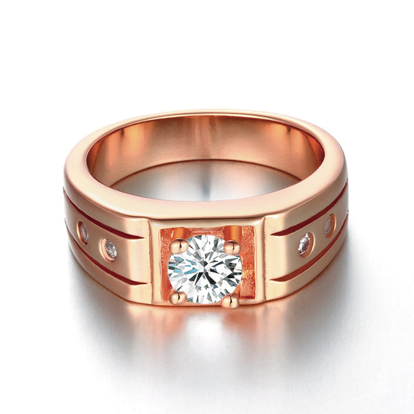 18K Rose Gold Plated Simulated Diamond Gucci Cut Cocktail Ring