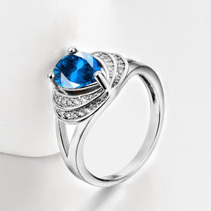 Blue Swarovski Duo Halo Cocktail Ring in 18K White Gold, , Golden NYC Jewelry, Golden NYC Jewelry  jewelryjewelry deals, swarovski crystal jewelry, groupon jewelry,, jewelry for mom,