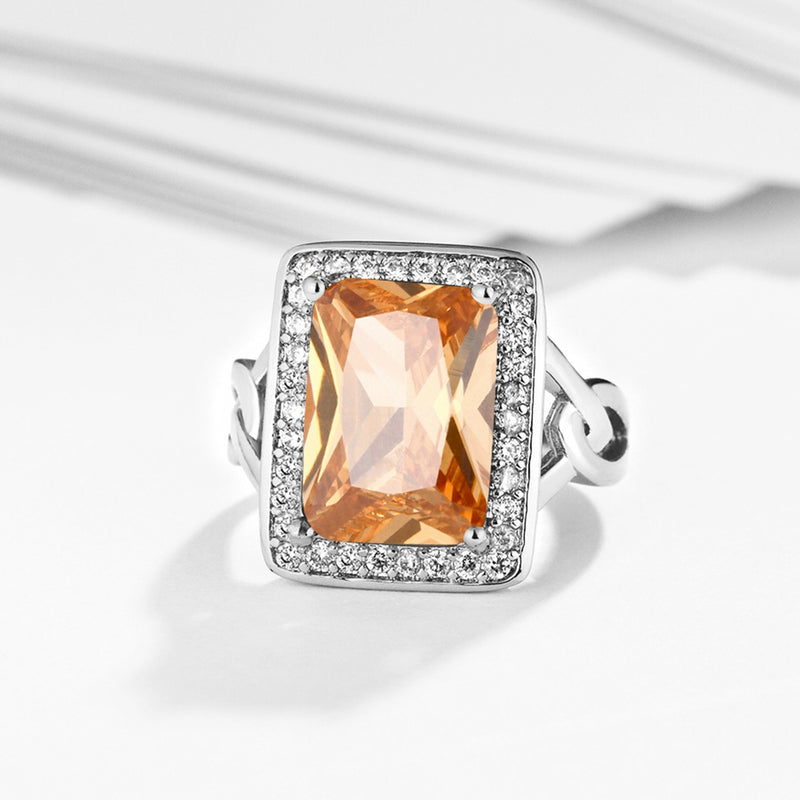 Orange Citrine Emerald Cut Cocktail Ring in 18K White Gold