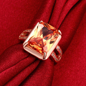 Orange Citrine Emerald Cut Cocktail Ring in 18K Rose Gold
