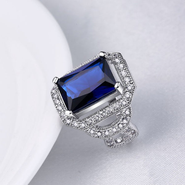 Sapphire Emerald Cut Micro-Pav'e White Gold Cocktail Ring - Golden NYC Jewelry Pandora Jewelry goldennycjewelry.com wholesale jewelry