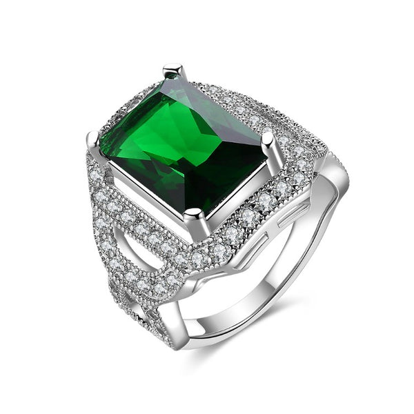 Emerald Emerald Cut Micro-Pav'e White Gold Cocktail Ring, , Golden NYC Jewelry, Golden NYC Jewelry fashion jewelry, cheap jewelry, jewelry for mom,
