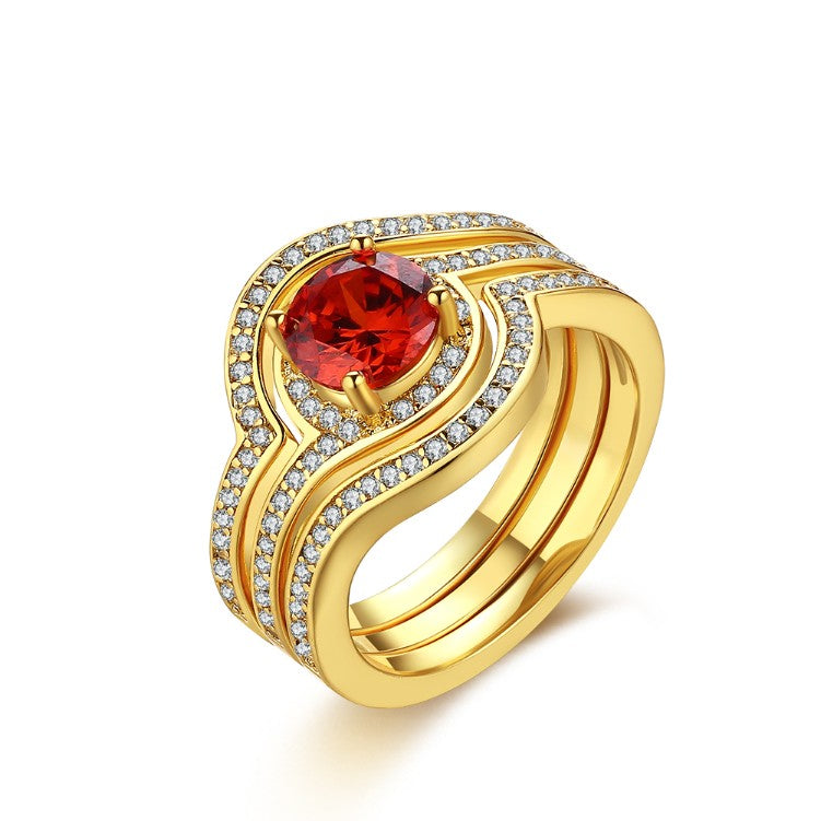 Ruby Micro-Pav'e Curved Setting Cocktail White Gold Ring - Golden NYC Jewelry Pandora Jewelry goldennycjewelry.com wholesale jewelry