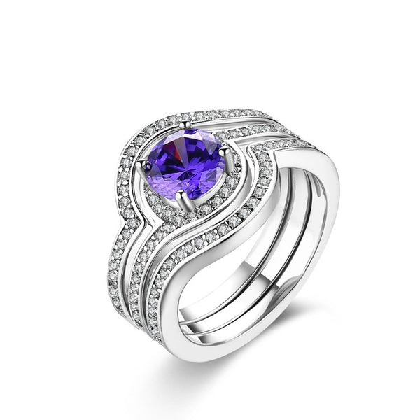 Tanzanite Crystal Curved Pav'e White Gold Ring - Golden NYC Jewelry www.goldennycjewelry.com fashion jewelry for women