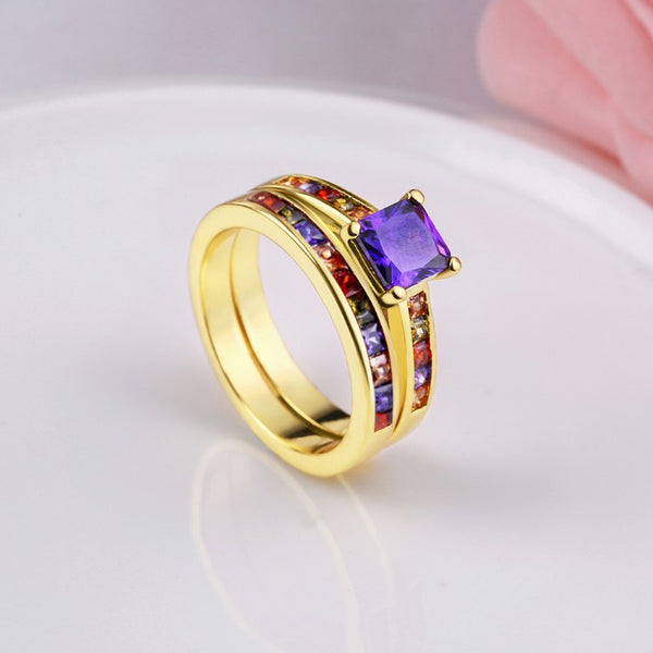 Rainbow Crystals Duo Band Gold Ring, , Golden NYC Jewelry, Golden NYC Jewelry fashion jewelry, cheap jewelry, jewelry for mom,