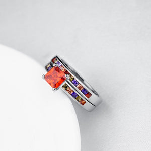 Rainbow Crystals Duo Band Rings in White Gold, , Golden NYC Jewelry, Golden NYC Jewelry fashion jewelry, cheap jewelry, jewelry for mom,