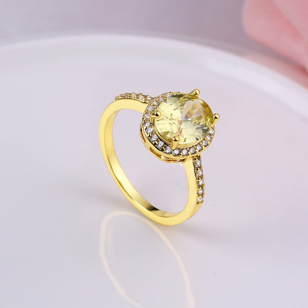 Yellow Citrine Princess Cut Pav'e Halo Cut Gold Ring - Golden NYC Jewelry www.goldennycjewelry.com fashion jewelry for women