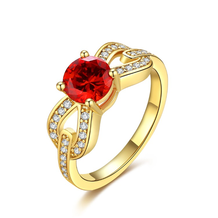 Micro-Pav'e Overlap Ruby Ring in Gold, , Golden NYC Jewelry, Golden NYC Jewelry fashion jewelry, cheap jewelry, jewelry for mom,